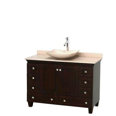 Acclaim 48 Single Bathroom Vanity Set Base Finish: Espresso, Top Finish: Ivory, Basin Finish: Ivory Marble