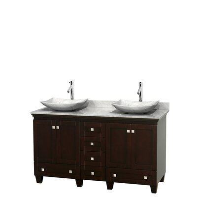 Acclaim 60 Double Bathroom Vanity Set Base Finish: Espresso, Top Finish: White Carrera, Basin Finish: White Carrera Marble
