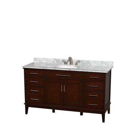 Hatton 60 Single Bathroom Vanity Set Base Finish: Dark Chestnut, Top Finish: White Carrera
