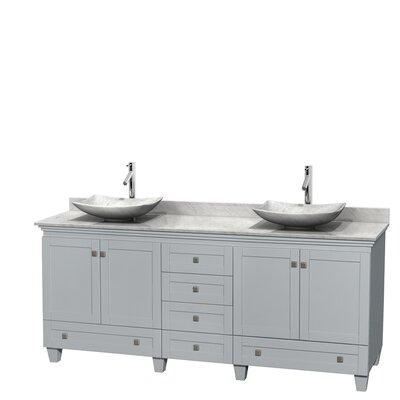 Acclaim 80 Double Bathroom Vanity Set Base Finish: Oyster Gray, Top Finish: White Carrera, Basin Finish: White Carrera Marble