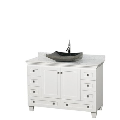 Acclaim 48 Single Bathroom Vanity Set Top Finish: White Carrera, Base Finish: White