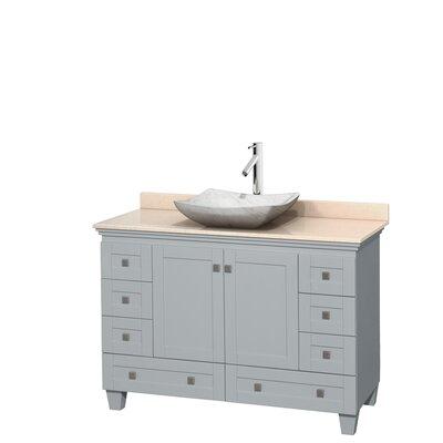 Acclaim 48 Single Bathroom Vanity Set Base Finish: Oyster Gray, Top Finish: Ivory, Basin Finish: White Carrera Marble