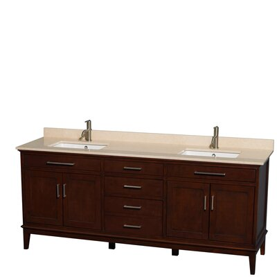 Hatton 80 Double Bathroom Vanity Set Base Finish: Dark Chestnut, Top Finish: Ivory