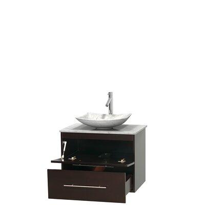 Centra 30 Single Bathroom Vanity Set Base Finish: Espresso, Top Finish: White Carrera, Basin Finish: White Carrera Marble
