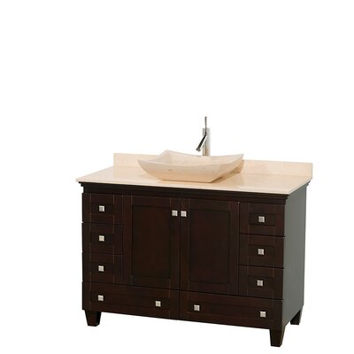 Acclaim 48 Single Bathroom Vanity Set Basin Finish: Ivory Marble, Top Finish: Ivory, Base Finish: Espresso