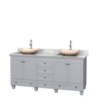 Acclaim 72 Double Bathroom Vanity Base Finish: Oyster Gray, Basin Finish: Ivory Marble, Top Finish: White Carrera