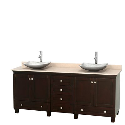 Acclaim 80 Double Bathroom Vanity Set Base Finish: Espresso, Top Finish: Ivory, Basin Finish: White Carrera Marble