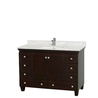 Acclaim 48 Single Bathroom Vanity Set Base Finish: Espresso, Top Finish: White Carrera