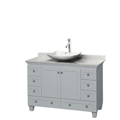 Acclaim 48 Single Bathroom Vanity Set Basin Finish: White Carrera Marble, Top Finish: White Carrera, Base Finish: Oyster Gray