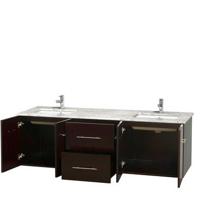 Centra 72 Double Bathroom Vanity Base Finish: Espresso, Top Finish: White Carrera