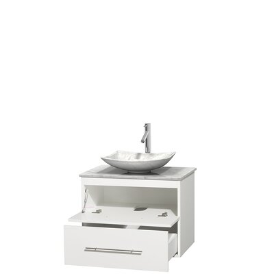 Centra 30 Single Bathroom Vanity Set Base Finish: Matte White, Top Finish: White Carrera, Basin Finish: White Carrera Marble
