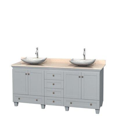 Acclaim 72 Double Bathroom Vanity Base Finish: Oyster Gray, Top Finish: Ivory, Basin Finish: White Carrera Marble