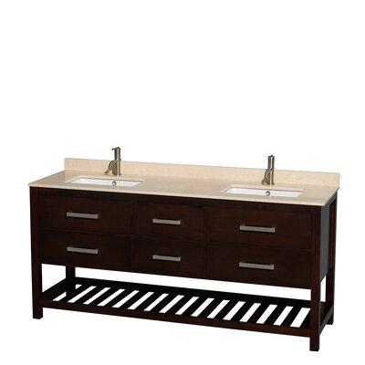 Natalie 72 Double Bathroom Vanity Set Base Finish: Espresso, Top Finish: Ivory