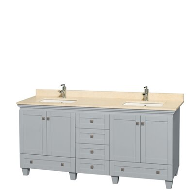 Acclaim 72 Double Bathroom Vanity Base Finish: Oyster Gray, Top Finish: Ivory