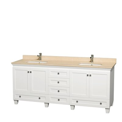 Acclaim 80 Double Bathroom Vanity Set Base Finish: White, Top Finish: Ivory