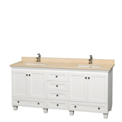 Acclaim 72 Double Bathroom Vanity Base Finish: White, Top Finish: Ivory