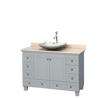 Acclaim 48 Single Bathroom Vanity Set Top Finish: Ivory, Basin Finish: White Carrera Marble, Base Finish: Oyster Gray