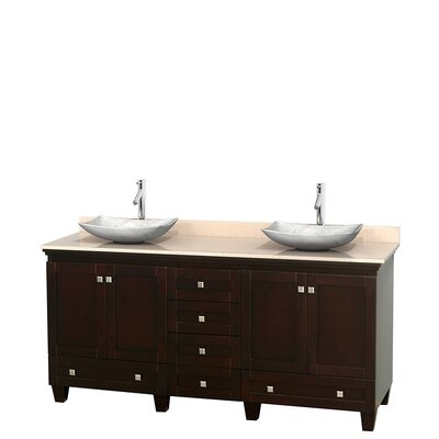 Acclaim 72 Double Bathroom Vanity Top Finish: Ivory, Basin Finish: White Carrera Marble, Base Finish: Espresso