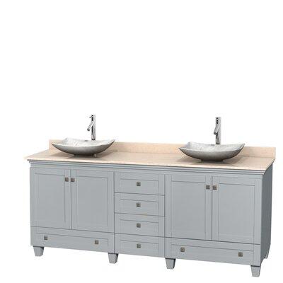 Acclaim 80 Double Bathroom Vanity Set Top Finish: Ivory, Basin Finish: White Carrera Marble, Base Finish: Oyster Gray