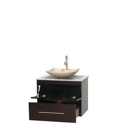 Centra 30 Single Bathroom Vanity Set Base Finish: Espresso, Top Finish: White Carrera, Basin Finish: Ivory Marble