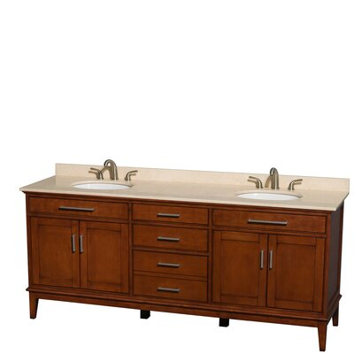 Hatton 80 Double Bathroom Vanity Set Base Finish: Light Chestnut, Top Finish: Ivory