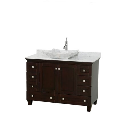 Acclaim 48 Single Bathroom Vanity Set Base Finish: Espresso, Top Finish: White Carrera, Basin Finish: White Carrera Marble