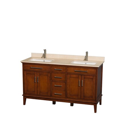 Hatton 60 Double Bathroom Vanity Set Base Finish: Light Chestnut, Top Finish: Ivory