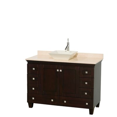Acclaim 48 Single Bathroom Vanity Set Basin Finish: Bone Porcelain, Top Finish: Ivory, Base Finish: Espresso