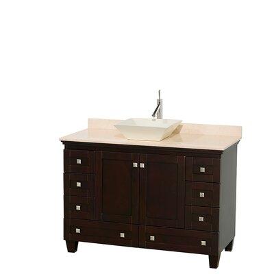 Acclaim 48 Single Bathroom Vanity Set Base Finish: Espresso, Top Finish: Ivory, Basin Finish: Bone Porcelain