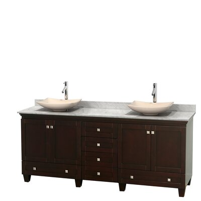 Acclaim 80 Double Bathroom Vanity Set Base Finish: Espresso, Basin Finish: Ivory Marble, Top Finish: White Carrera