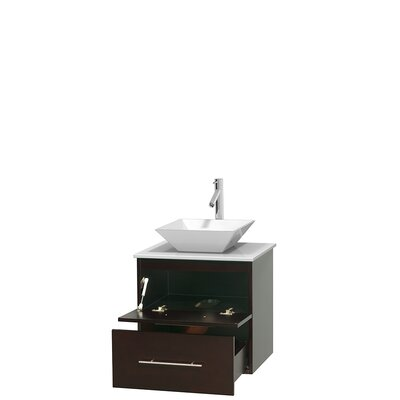 Centra 24 Single Bathroom Vanity Base Finish: Espresso, Basin Finish: Pyra White