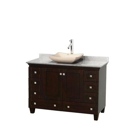 Acclaim 48 Single Bathroom Vanity Set Top Finish: White Carrera, Basin Finish: Ivory Marble, Base Finish: Espresso
