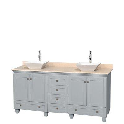 Acclaim 72 Double Bathroom Vanity Base Finish: Oyster Gray, Top Finish: Ivory, Basin Finish: White Porcelain