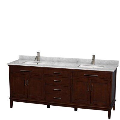 Hatton 80 Double Bathroom Vanity Set Base Finish: Dark Chestnut, Top Finish: White Carrera