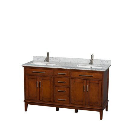 Hatton 60 Double Bathroom Vanity Set Base Finish: Light Chestnut, Top Finish: White Carrera