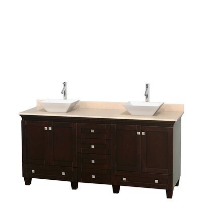 Acclaim 72 Double Bathroom Vanity Base Finish: Espresso, Top Finish: Ivory, Basin Finish: White Porcelain