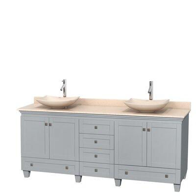 Acclaim 80 Double Bathroom Vanity Set Top Finish: Ivory, Basin Finish: Ivory Marble, Base Finish: Oyster Gray