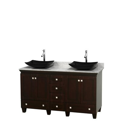 Acclaim 60 Double Bathroom Vanity Set Top Finish: White Carrera, Base Finish: Espresso