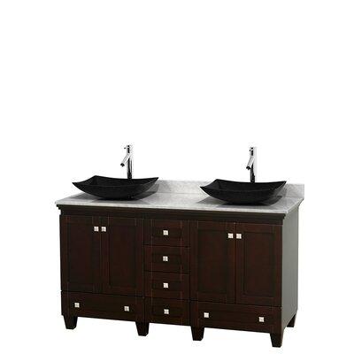 Acclaim 60 Double Bathroom Vanity Set Base Finish: Espresso, Top Finish: White Carrera