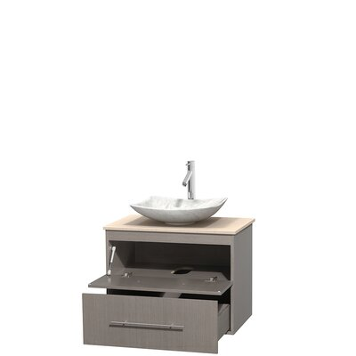 Centra 30 Single Bathroom Vanity Set Base Finish: Gray Oak, Top Finish: Ivory, Basin Finish: White Carrera Marble