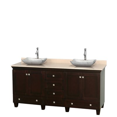 Acclaim 72 Double Bathroom Vanity Base Finish: Espresso, Top Finish: Ivory, Basin Finish: White Carrera Marble