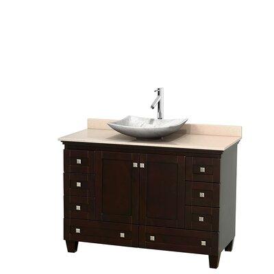 Acclaim 48 Single Bathroom Vanity Set Base Finish: Espresso, Top Finish: Ivory, Basin Finish: White Carrera Marble