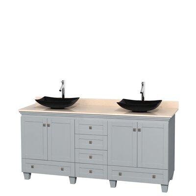 Acclaim 72 Double Bathroom Vanity Base Finish: Oyster Gray, Top Finish: Ivory
