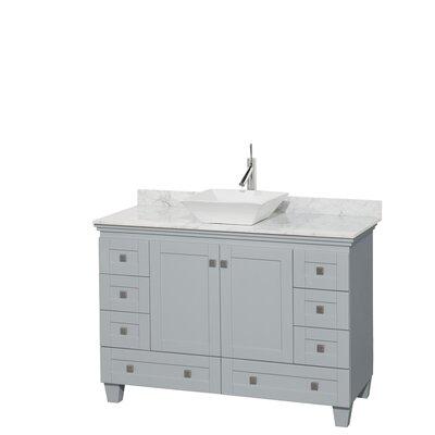 Acclaim 48 Single Bathroom Vanity Set Base Finish: Oyster Gray, Top Finish: White Carrera, Basin Finish: White Porcelain