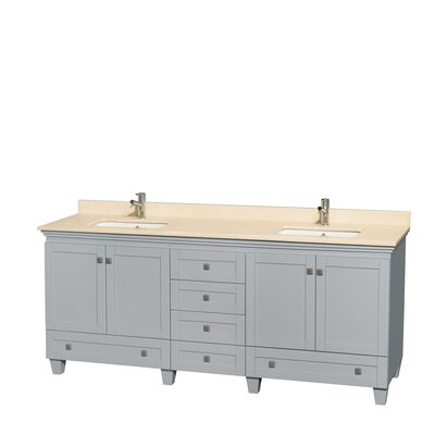 Acclaim 80 Double Bathroom Vanity Set Top Finish: Ivory, Base Finish: Oyster Gray