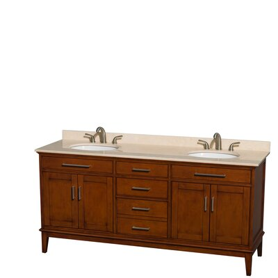 Hatton 72 Double Bathroom Vanity Base Finish: Light Chestnut, Top Finish: Ivory