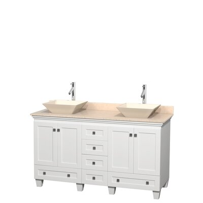 Acclaim 60 Double Bathroom Vanity Set Top Finish: Ivory, Basin Finish: Bone Porcelain, Base Finish: White
