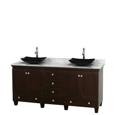 Acclaim 72 Double Bathroom Vanity Base Finish: Espresso, Top Finish: White Carrera