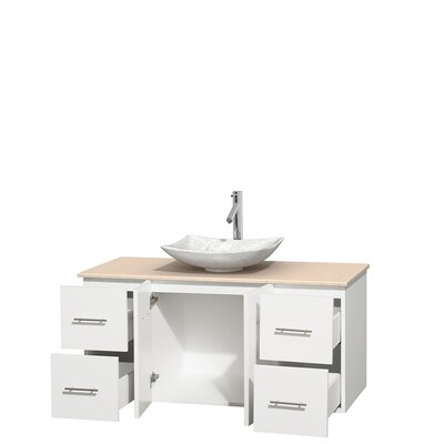 Centra 48 Single Bathroom Vanity Set Base Finish: Matte White, Top Finish: Ivory, Basin Finish: White Carrera Marble