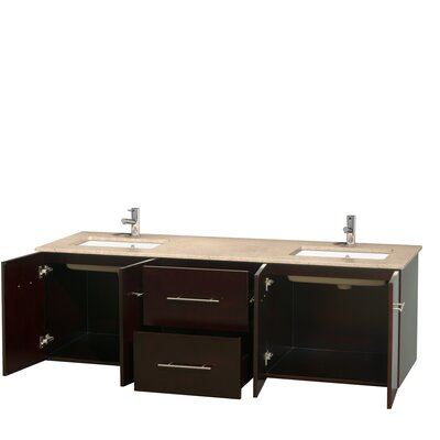 Centra 72 Double Bathroom Vanity Top Finish: Ivory, Base Finish: Espresso
